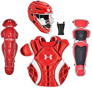 Under Armour PTH Victory Series Catching Kit, Meets NOCSAE, Ages 7-9, Red